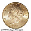 Liberty Double Eagles: , 1904 $20 MS65 PCGS. Pleasant orange-gold and soft blue ...