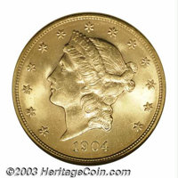 1904 $20 MS65 NGC. Minimally abraded with radiant mint luster that is accented with olive-tinged borders. One of numerou...