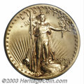 High Relief Double Eagles: , 1907 $20 High Relief, Wire Rim MS64 PCGS. This is a ...