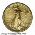 High Relief Double Eagles: , 1907 $20 High Relief, Flat Rim MS64 PCGS. The Flat Rim ...