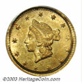 California Fractional Gold: , 1853 50C Liberty Round 50 Cents, BG-409, R.3, MS63 PCGS. ...
