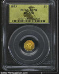 California Fractional Gold: , 1853 $1 Liberty Octagonal 1 Dollar, BG-530, R.2, AU58 PCGS.