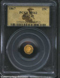California Fractional Gold: , 1867 25C Liberty Octagonal 25 Cents, BG-742, R.8, MS62 PCGS....