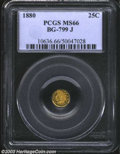 California Fractional Gold: , 1880 25C Indian Octagonal 25 Cents, BG-799J, R.3, MS66 PCGS....