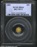 California Fractional Gold: , 1880 25C Indian Octagonal 25 Cents, BG-799Y, R.6, MS63 PCGS....