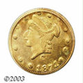 California Fractional Gold: , 1871 25C Liberty Round 25 Cents, BG-838, R.2, MS64 PCGS. ...