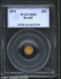 California Fractional Gold: , 1875 25C Indian Round 25 Cents, BG-847, R.5, MS63 PCGS. ...