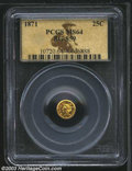 California Fractional Gold: , 1871 25C Liberty Round 25 Cents, BG-859, Low R.6, MS64 PCGS....