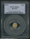 California Fractional Gold: , 1874 25C Indian Round 25 Cents, BG-876, R.5, MS64 PCGS. ...