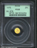 California Fractional Gold: , 1875 25C Indian Round 25 Cents, BG-878, R.4, MS60 PCGS. ...