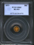 California Fractional Gold: , 1873 50C Liberty Octagonal 50 Cents, BG-915, R.5, MS62 PCGS....