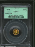 California Fractional Gold: , 1871 50C Liberty Octagonal 50 Cents, BG-924, R.4, MS64 PCGS....
