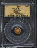 California Fractional Gold: , 1871 50C Liberty Round 50 Cents, BG-1043, Low R.7, MS62 ...