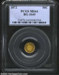 California Fractional Gold: , 1872 50C Indian Round 50 Cents, BG-1049, R.6, MS64 PCGS. ...