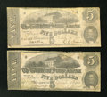 Confederate Notes:1862 Issues, T53 $5 1862 VG, CC. T53 $5 1862 Fine.. ... (Total: 2 notes)