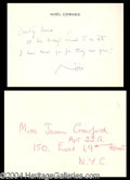 Autographs, Noel Coward Signed Note ANS to Joan Crawford