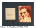 Autographs, Joan Crawford Signed Letter Display