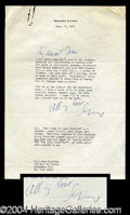 Autographs, George Cukor Signed Letter to Joan Crawford