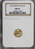 Commemorative Gold: , 1922 G$1 Grant with Star MS63 NGC. . NGC Census: (89/953). PCGSPopulation (214/1810). Mintage: 5,016. Numismedia Wsl. Pric...