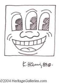 Keith Haring Rare Original Ink Sketch - Superb ink sketch accomplished entirely in Haring's hand, featuring a unique thr...