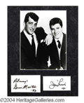 Autographs, Dean Martin & Jerry Lewis Signed Matted Display