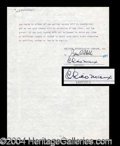 Autographs, Chico Marx Choice Signed Document