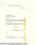 Autographs, Frank Sinatra Rare Vintage Signed Document