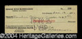 Autographs, Edgar Rice Burroughs Signed Bank Check