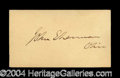 Autographs, John Sherman Nice Ink Signature