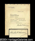 Autographs, Herbert Hoover Signed Letter as President