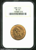 Liberty Eagles: , 1890 MS60 NGC. ...