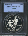 Modern Issues: , 1994-S World Cup Silver Dollar PR 69 Deep Cameo PCGS. ...