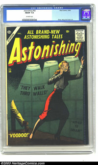 Astonishing #56 (Atlas, 1956) CGC FN/VF Off-white pages. Joe Maneely cover. Jack Kirby, Dave Berg, and Gene Colan art. T...