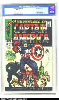 Captain America #100 (Marvel, 1968) CGC NM+ 9.6 Off-white to white pages. The Cap breaks free in this first issue, a con...