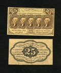 Fractional Currency:First Issue, Fr. 1282SP 25c Narrow Margin Pair First Issue Choice New. The face is a problem free Choice New and the back grades the same... (Total: 2 notes)