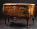 Furniture, A French Louis XV Style Commode. Unknown maker, French. Nineteenth century. Satinwood and parquetry veneer on oak carcass,...