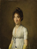 Fine Art - Painting, European:Antique  (Pre 1900), Attributed to LOUIS-LÉOPOLD BOILLY (French 1761-1845). PortraitOf A Woman, 1801. Oil on panel. 11-1/2 x 8-3/4 inches (2...
