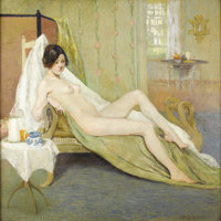 CHARLES ROSWELL BACON (American 1868-1913) Female Nude In An Interior Oil on canvas 54 x 54 inches (137.2 x 137.2 cm