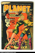 Golden Age (1938-1955):Science Fiction, Planet Comics #35 (Fiction House, 1945) Condition: GD. Mysta of theMoon begins. Murphy Anderson art. Rodent/bug chew goes i...
