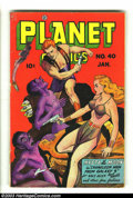 Golden Age (1938-1955):Science Fiction, Planet Comics #40 (Fiction House, 1946) Condition: VG-. Bob Lubberscover, Murphy Anderson art. Three small pieces of tape i...