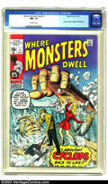Bronze Age (1970-1979):Horror, Where Monsters Dwell #1 (Marvel, 1970) CGC NM- 9.2 Off-white pages.Reprint issue, featuring pre-superhero stories by the li...