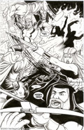 Original Comic Art:Splash Pages, Brendon and Brian Fraim - Original Art for Knights of the DinnerTable #14, page 23 (Kenzer & Co., 2000). It's a fiery battl...