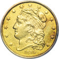 Early Half Eagles, 1834 $5 Capped Head, Crosslet 4--Damaged, Cleaned--ANACS. AU50Details....