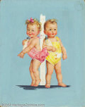 "Original Illustration Art:Mainstream Illustration, Charlotte Becker - Original Calendar Art (c.1930).. Published aspart of Charlotte Becker's popular ""babies series"" by the G..."