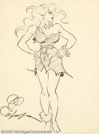 Al Capp (1909-1979) Original Illustration (Not dated). Privately commissioned drawing of Wolf Gal, a favorite character...