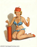 Original Illustration Art:Pin-up and Glamour Art, Forest Clough (1910-1985) Original Pin-up Art (1955-1960).. Thetitle, Firecracker Fran, is noted on the verso.. Oil on ...