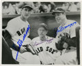 Autographs:Others, Ted Williams, Joe DiMaggio and Dom DiMaggio Autographed Photo.Great moment captured outside of dugout with brothers Dom and...