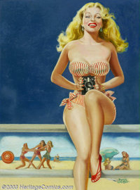 Peter Driben (1903-1968) Original Pin-up Art (c.1947-1950). Wink magazine cover. This particular painting is a rarity f...