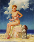 Original Illustration Art:Pin-up and Glamour Art, Merlin Enabnit (1903-1979) Original Pin-up Art (c.1945).. Publishedas a calendar print. The subject, medium and size, make ...