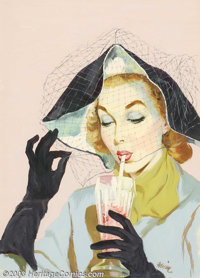 Gwen Fremlin - Original Illustration (c.1950). American Weekly magazine. Most likely appeared as a cover. Noted on the...